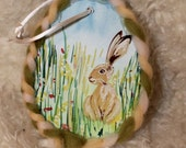 Easter Bunny Miniature Painting, Easter decoration