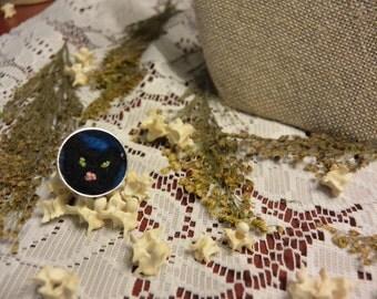 Black Felted Cat Ring