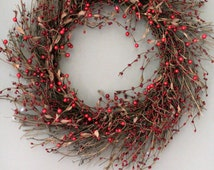 Red Christmas Wreath ,  Fall wreath,Berry Twig wreath ,Door Wreath Decor, Grapevine Wreath , Winter wreath ,Mothers day  Wreath
