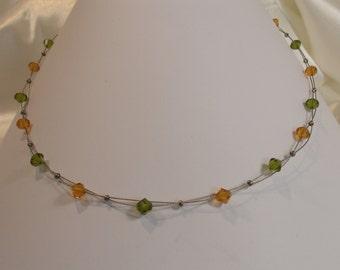 Beaded necklace Swarovski Crystal Orange and olive green