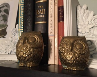 Antique Brass Owl Pair // Vintage // Collectible // Gift // Decor