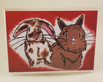 Danielle the Lionhead, Rabbits Greeting Card, Love, Valentines Day