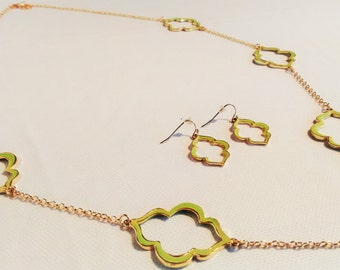 green stained necklace and earrings, also available individual