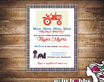 Moo, Moo, Moo, Moo A Baby Boy is Almost Due Baby Shower Invite