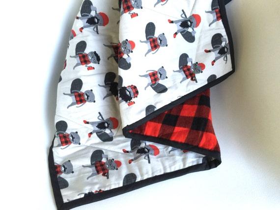 Baby Quilt, Woodland, Woodland theme, Woodland Nursery, Woodland Quilt, Woodland Print Quilt, Baby Bedding, Burly Beavers