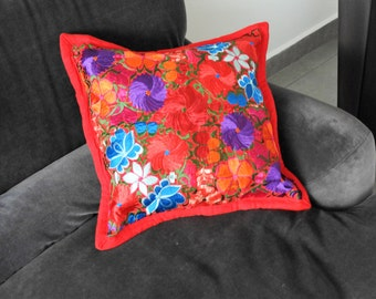 Embroidered pillow cover Red