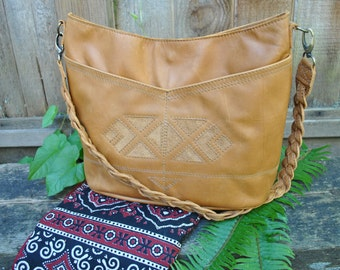 Leather Hobo bag with front pockets