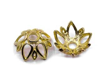 4 Gold Flower 19mm Bead Caps   Gold Flower Beadcaps, Gold Bead Caps, Flower Beadcaps, 19mm Beadcaps, Middle Hole Beadcaps