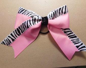 Pink bow with glittery zebra trim - Animal print bow