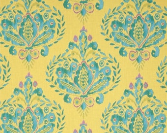 SALE Dena Designs Ikat Fleur in Aqua Fabric - Spring Fabric by the Yard - Yellow Blue - Clearance Fabric - Quilting Boutique Clothing Fabric