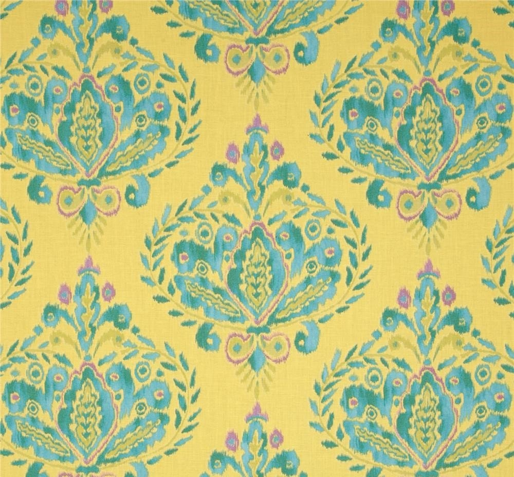 Sale dena designs ikat fleur in aqua fabric spring fabric by for Patterned material for sale