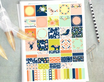 Build-a-Box, Wilderness Whimsy, Printable Planner Stickers, Erin Condren Vertical or Happy Planner, Forest, Washi, MAMBI, Birds, Deer, Bears