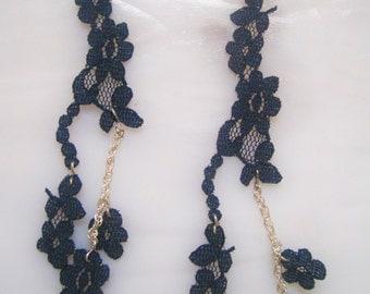 Navy Blue Lace Earrings, Blue Earrings, Steampunk, Chains, Lightweight, Gift idea, Costume, Ren Faire, Garb, Statement Earrings