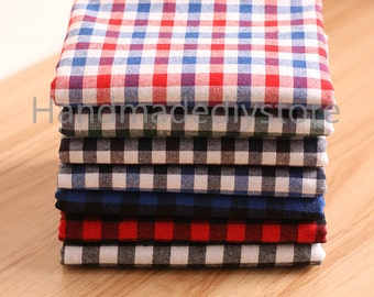 Check Cloth Fabric Supply, Blue Red/ Green Black/ Blue Gray/ Blue Black/ Red Black/ Black White Checked Flano Brushed Thick Textile (TG53)