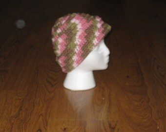 Pink Camouflage Crocheted Hat
