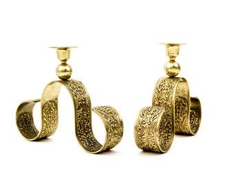 Ornate Scroll Chinese Brass Candlesticks
