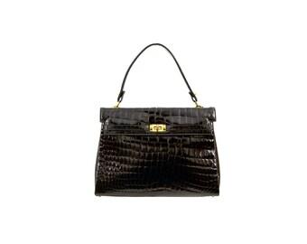 Patent Leather Faux Crocodile Skin Astrid Handbag