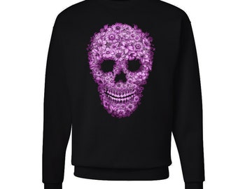 Pink Floral Skull Sweatshirt Colorful Hipster Sweater