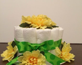 Gender Neutral Diaper Cake Yellow Flower