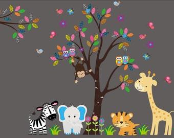 "Nursery Wall Decals - Jungle Baby Room Stickers - Large Nursery Animal Decals - Baby Room Wall Stickers - Nursery Wall Decals - 85"" x 125"""