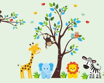 "Nursery Wall Decals - Wall Decals Nursery - Safari Wall Decals - Jungle Wall Decals - Baby Boy Nursery - Nursery Wall Decal - 83"" x 125"""
