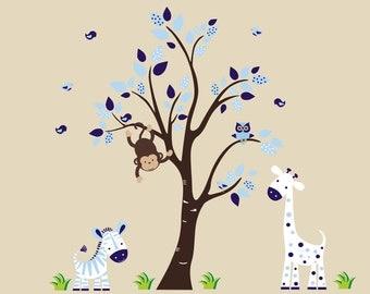"Boys Nursery Decals - Blue Animal Decals - Safari Wall Decals - Jungle Wall Decals - Animal Wall Prints - Blue Nursery Decor - 83"" x 67"""