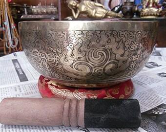 """9"""" Mantra Carved Buddha Tibetan Singing Bowl,"""