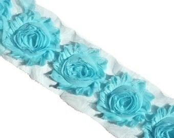 Aqua Blue Shabby Flowers, Shabby Chiffon Flowers, Wholesale Flowers, Headband Supplies, DIY Flowers, Fabric Flower Applique, #S1