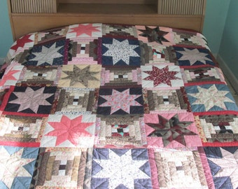 Amish Quilt Stars Over the Cabin  King 103 x 112