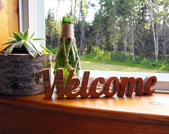 Welcome Word Cut Out Solid Wood Sign Hand Cut