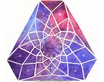 "5""x7"" Art print: Triangular / Egyptian diamond on pink, blue and violet watercolour with white stars | Dot art | Wall art | Gem prism print"