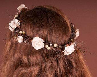 hand made rustic wedding head wreath for a bride or bridesmade