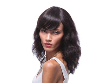 100% Human hair wig with fringe