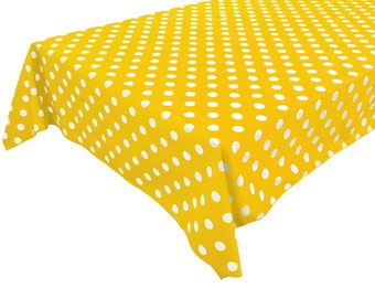 Cotton Table Cloth Polka Dots / Spots White on Yellow
