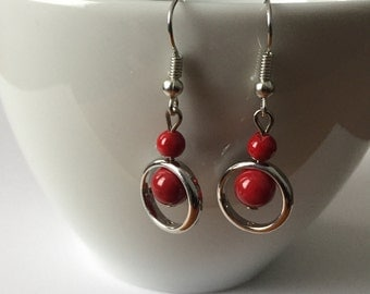 Delicate red and Silver earrings