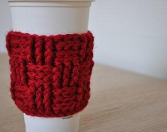 Red Basket-weave Crochet Coffee or Tea Cozy