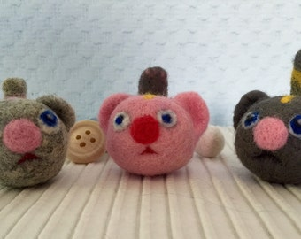Cats Wool Handmade Needle Felted  - an anti-stress! 2,5""