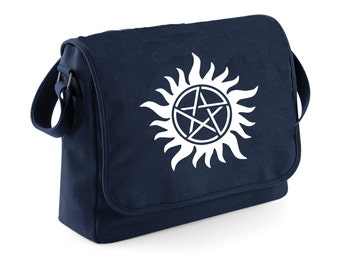 Supernatural - winchesters - messenger bag trap demons - Navy Blue messenger