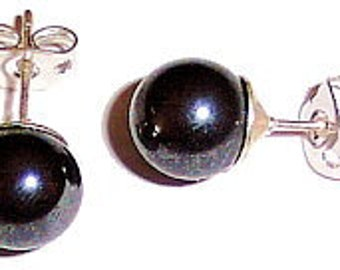 1 pair Hematite earrings size 6 mm ball, anti allergic