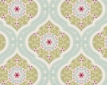 Tilda Spring Lake Fabric - Aurora Teal, Vintage, Romantic, Floral, Geometric