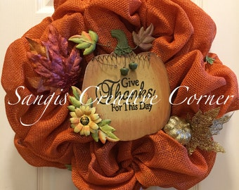 Orange Fall Wreath; Burlap Wreath; Autumn Wreath; Fall Decor; Front Door decor; Fall Wreath; Thanksgiving wreath; Wreath; Wreaths