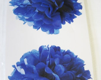 "Tissue Pom Poms Party Decorations - 2 Pk - Blue 12"" - New!"