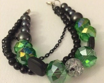 Chunky Green and Black Bracelet
