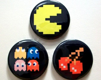 Set of 3 Pac Man Pin Button Badges