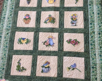 Quilted, Hand Appliqued and Machine Embroidered Wall Hanging