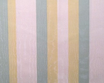 Coated cotton canvas striped upholstery fabric yellow green and ecru color
