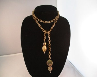 Taupe Silk Chain Necklace Novelty Pendants In Green/Taupe Tones