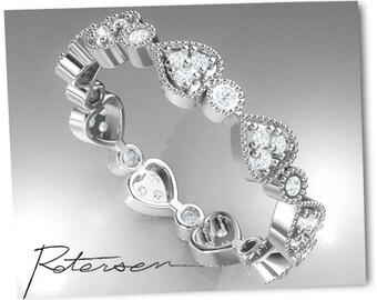 White Gold Wedding Band - Heart Ring - Art Deco Band - Full Eternity Ring - Stacking Ring - Milgrain Band - Moissanite Wedding band ring