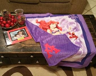 Princess Ariel Custom Baby Blanket, Little Mermaid Toddler Blanket, Crib Blanket