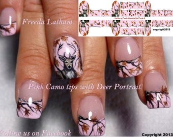 """30 Pink Camo with Buck Nail Decals from the  """" Signature Collection """""""